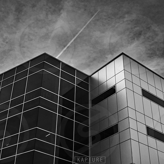 Black and white building architecture minimalism minimalist symmetry sky  photo