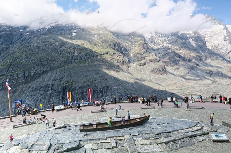Grossglockner SALZBURGER LAND/ AUSTRIA July 30 2016: people visiting the observation platform of Grossglockner Pasterze Glacier in Austria. Summer time. photo