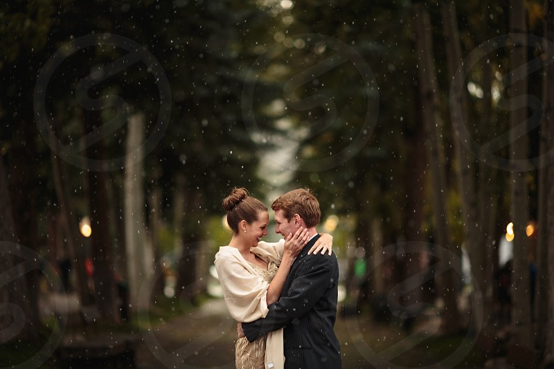 man and woman embracing near trees photo