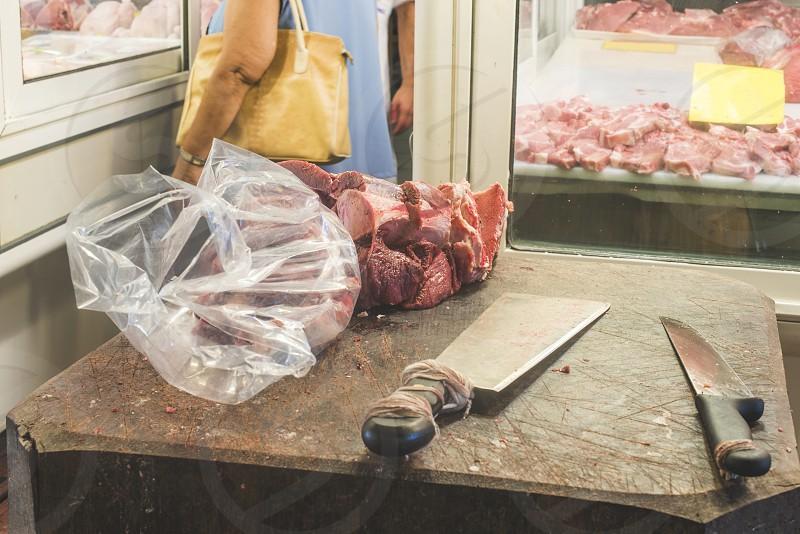 Meat in authentic market. Greece Athens Piraeus photo