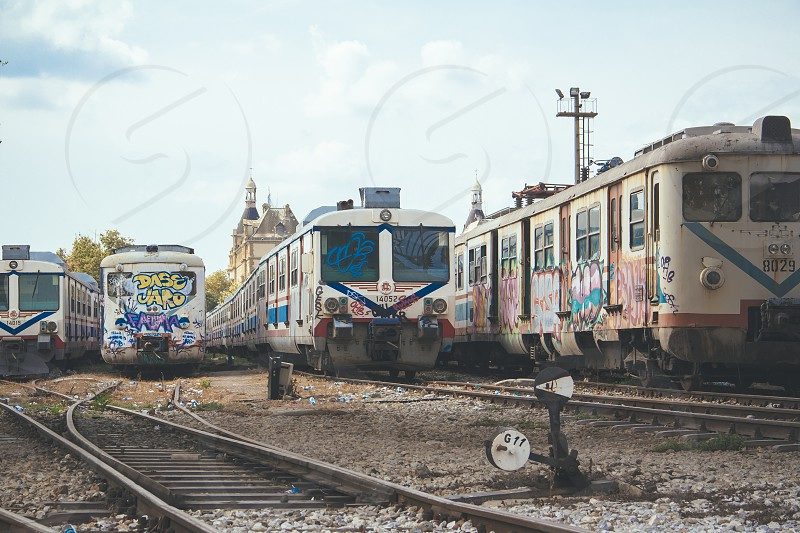 city train street art graffiti street transport photo