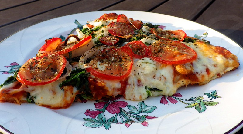 Vegetarian Pizza on a plate photo