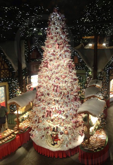 white christmas tree lighted up photo