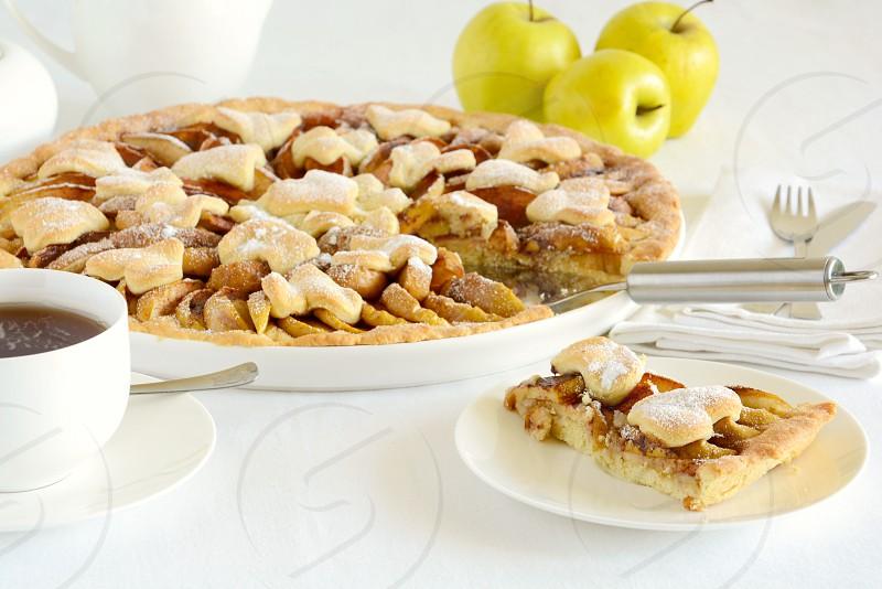 apple pie tart cake homemade food tea time relax photo