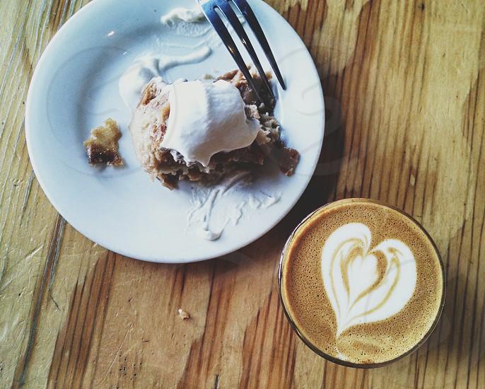 dessert and latte art photo