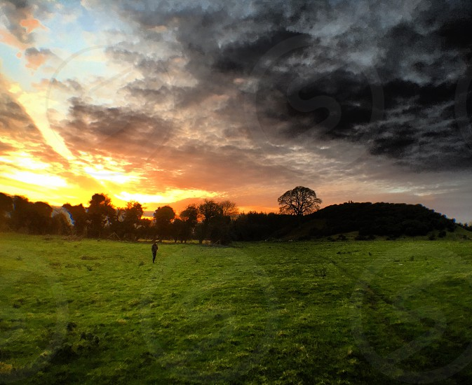 Dowth Ireland sunset evening dusk green field pasture pastoral winter new year's eve twilight sun sky clouds color colorful grass silhouette tree trees travel destination tourism photo
