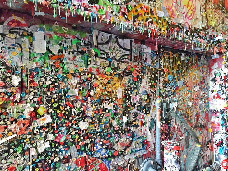 Gum wall Seattle pike place market landmark tourist attraction photo