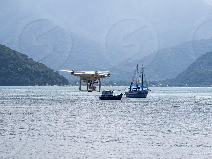 Drone in action. Ubatuba SP Brazil photo