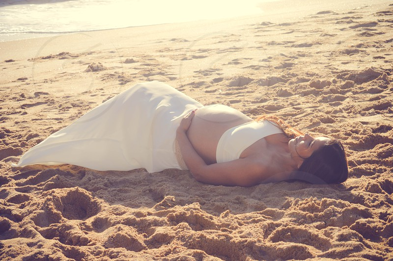maternity  mother mommy to be beach  photo