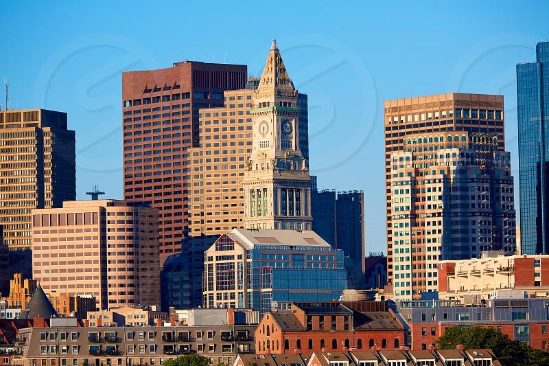 Boston skyline in sunlight at Massachusetts USA photo