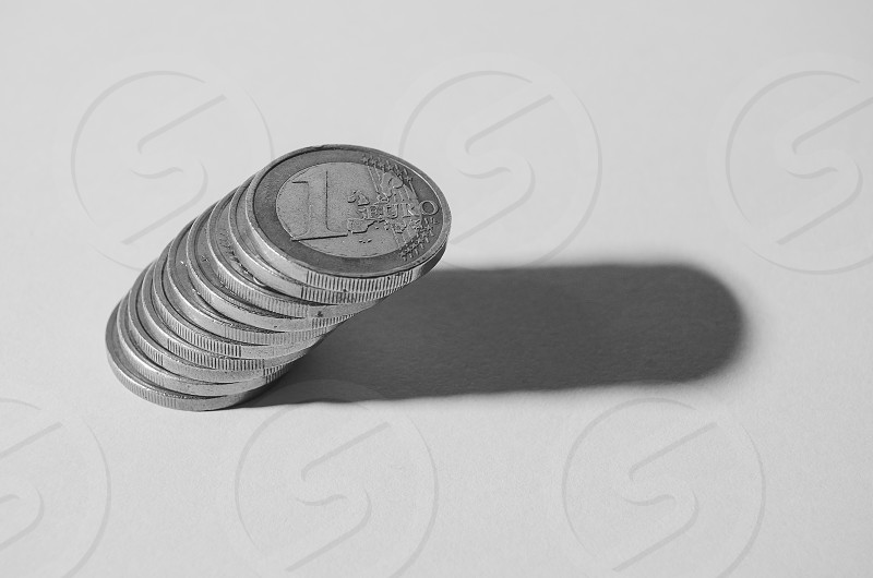 stack of 10 1 euro coins photo