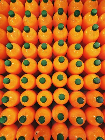 orange juice bottles photo