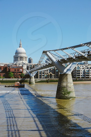 London Local St. Paul's Cathedral Thames River Boat  photo