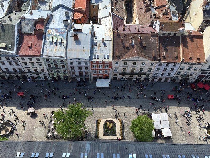 Downtown of Lvov Ukraine roofs buildings street houses top view overhead from high people  photo