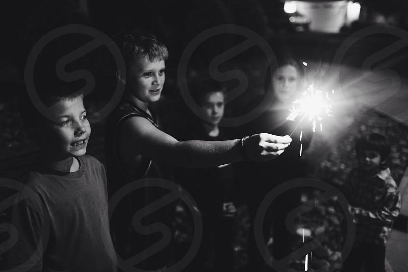 children watching sparklers photo