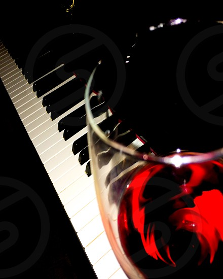 Red Wine Piano Keys Music photo