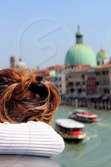 Woman dreaming in Venice photo
