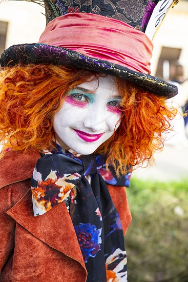 Lucca Italy 03/11/2018: During the carnival days a cosplayer dressed as a Mad hatter Character of the famous movie of Alice in Wonderland photo