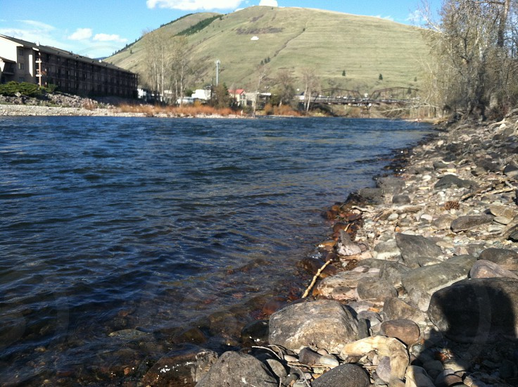 A look at Mount Jumbo from the Clark Fork River in downtown Missoula MT.  photo