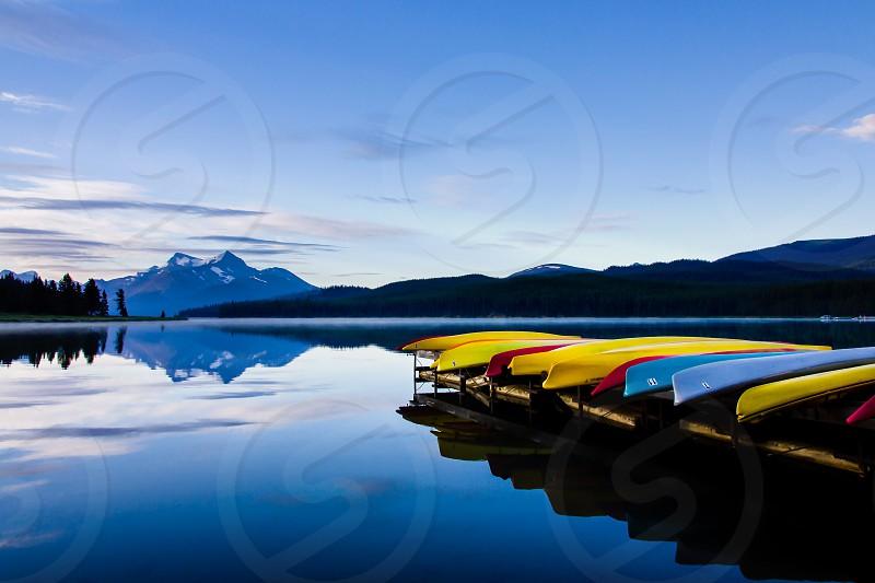 Early morning on Maligne Lake Jasper National Park Alberta Canada photo
