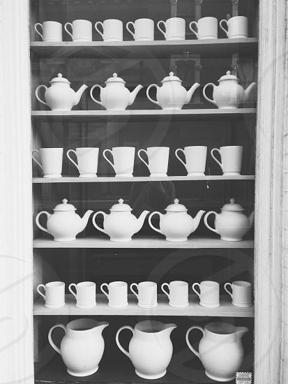Ceramic white tea set display photo photo