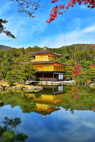 Kyoto kinkakuji golden Pavilion Kyoto in gal Rokuoin-ji zen Buddhist temple photo