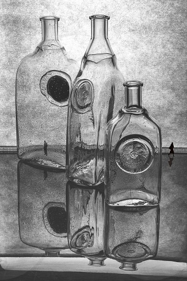 Black and white still life with glass bottles and silhouettes of people. Quarrel. photo