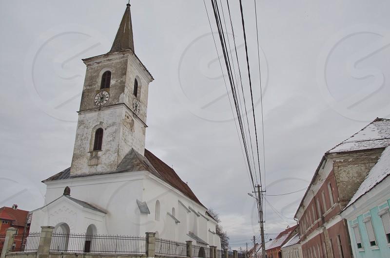 XVI century evangelical church Livezile Bistrita Nasaud villagewinterromaniaeastern europetransylvaniatourism photo