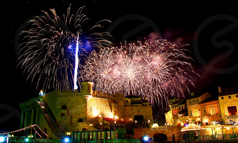 'Fireworks over city' (9)  Fireworks Fireworks over city New Year City European buildings Castle Sparkling Shinning Colorful Night view Horizontally long Laterally long Oblong photo