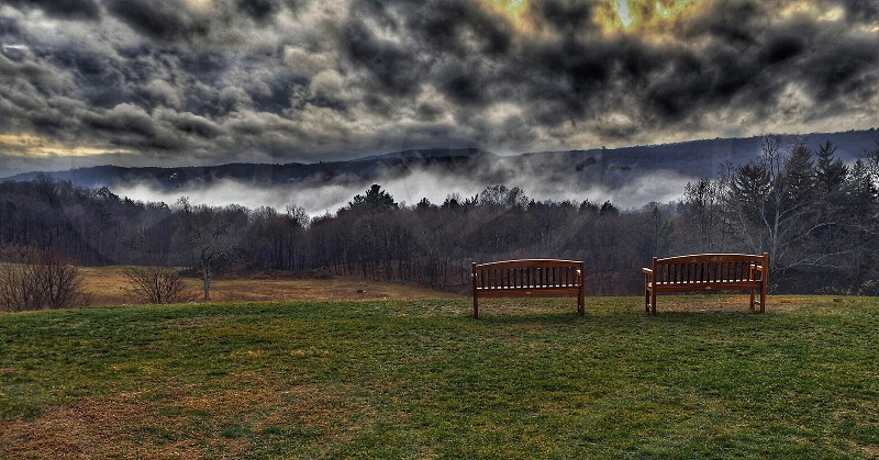 Storm Stormy Stormclouds thunderstorms sinister Stormy weather mountains fog valley photo