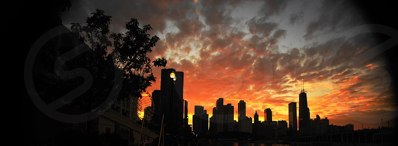 Sunset over Chicago Chicago Skyline Sunset photo