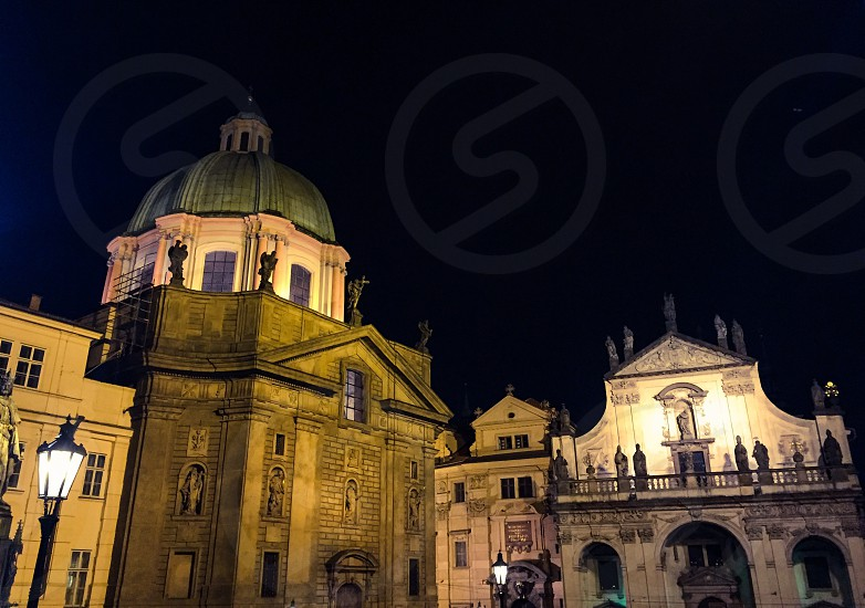 Outdoor night horizontal landscape colour buildings religious religion holy cathedral church ancient old historic attraction architecture architectural dome cupola Prague Czech Republic Europe European East Eastern travel tourism tourist wanderlust photo