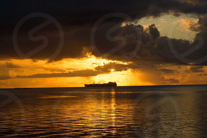 Life at sea as merchant mariner sunset f my ship Saipan sunset photo