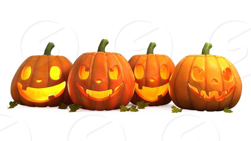 3d illustration of a group of Halloween pumpkin photo