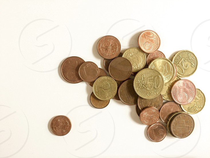 aerial view of euro coins on a white background photo