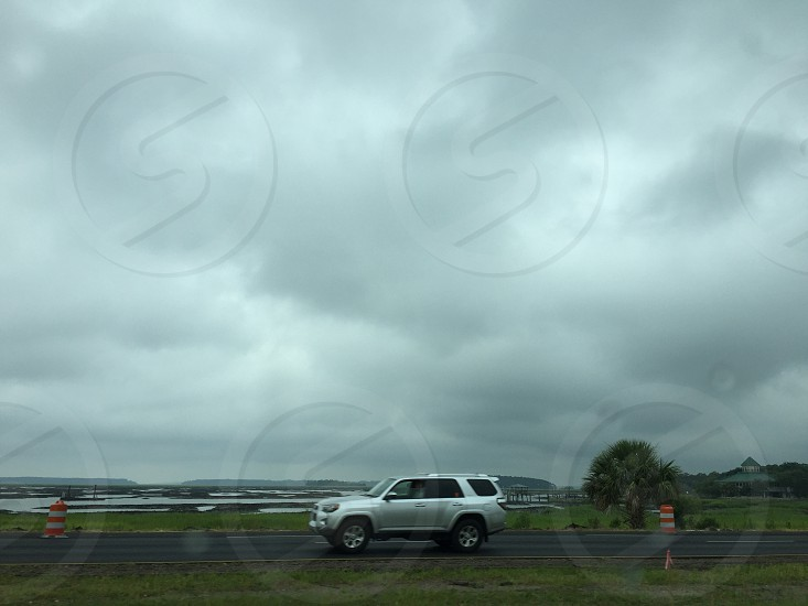 Travel view car. Clouds gray photo