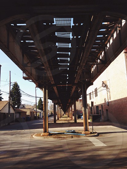 underneath train rail road view photo