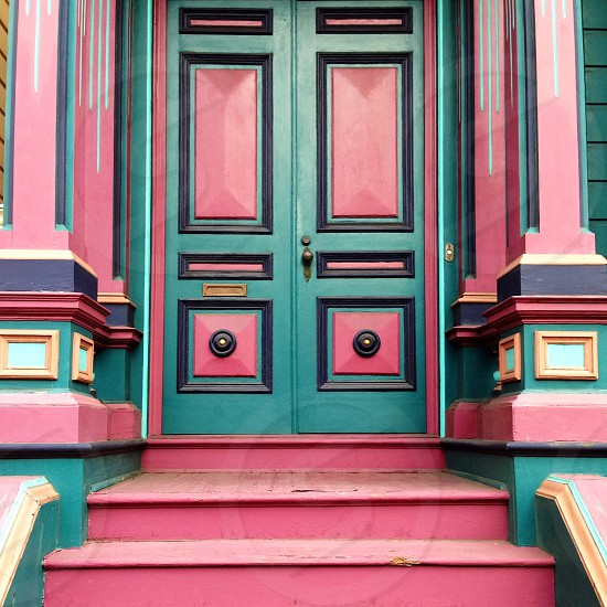 San Francisco people love to paint their home bright colors.  photo