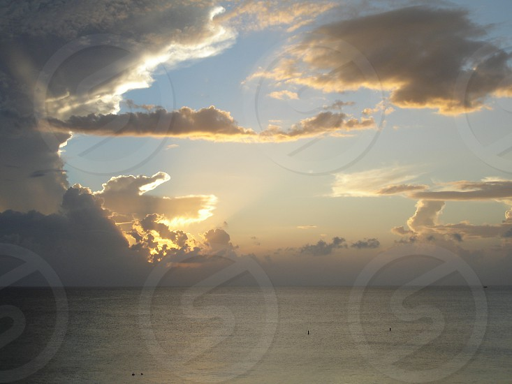 Ocean sunset in the Cayman Islands photo