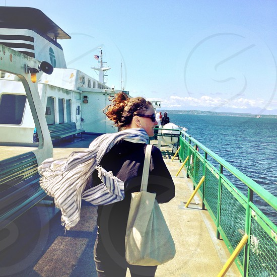 Riding the Seattle-Bainbridge Island ferry photo