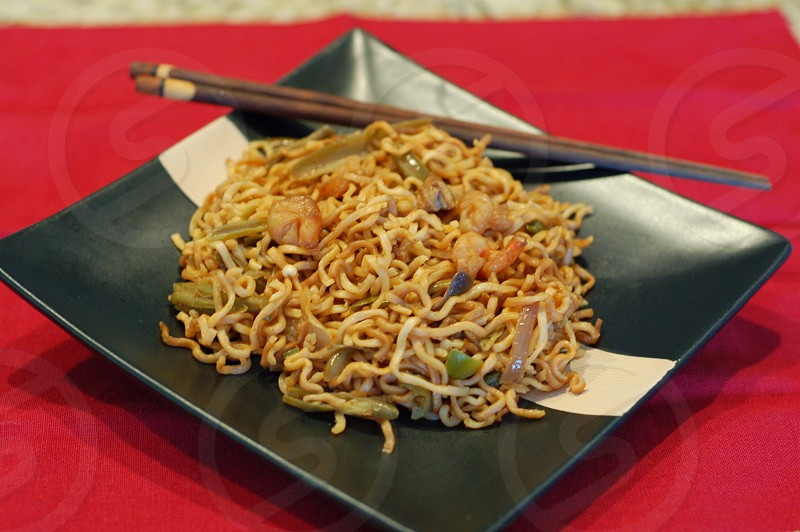 Malaysian cuisine Malaysian breakfast homemade mee goreng fried noodles  photo