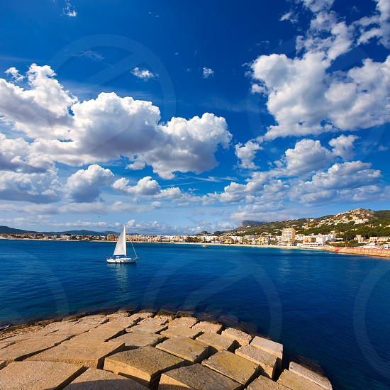 Javea Xabia skyline sailboat in Alicante Mediterranean Spain photo