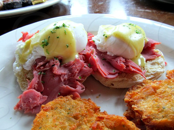 Eggs Benedict with corned beef instead of ham photo