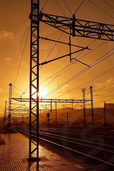 Santiago de Compostela sunrise at train railways end of Saint James Way photo