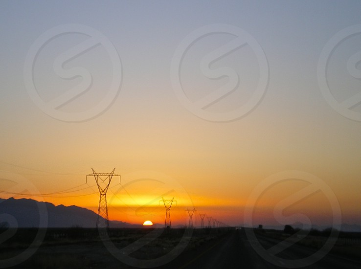 Sunset on the road photo