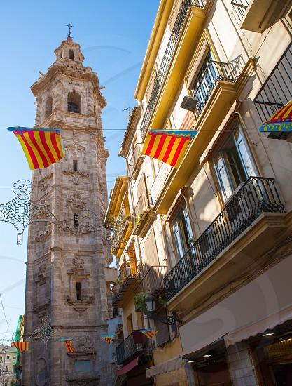 Valencia Santa Catalina church tower view from Calle la Paz in spain photo