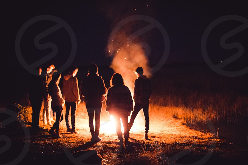 fire bonfire embers smoke friends night photo