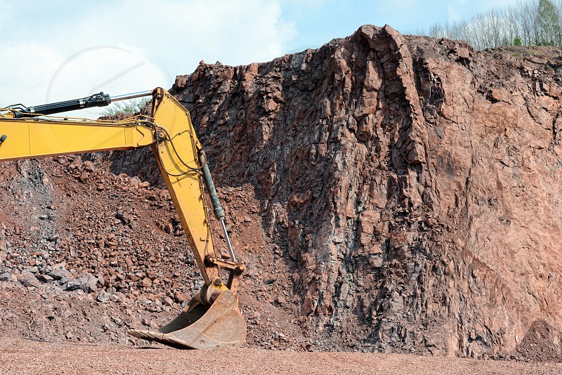 earth mover shovel in a quarry ready to work photo
