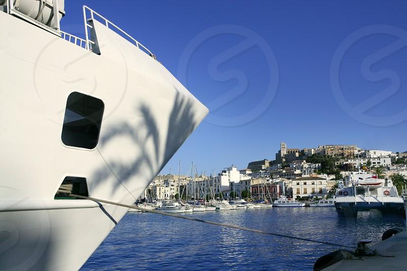 Ibiza landmark island in Mediterranean sea blue harbor view photo