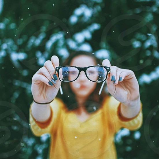 Glasses blur girl nails yellow green love fun snow spring winter photo